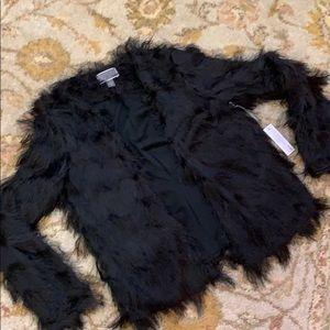 Chelsea28 Black Fringe Cardigan Size Small